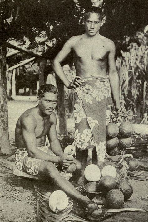 File:Two Tahitian men preparing breadfruits, c